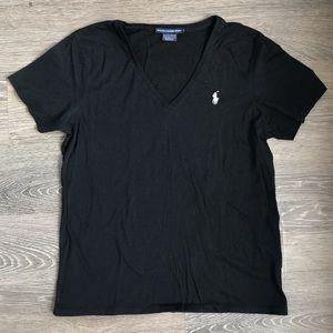 RALPH LAUREN SPORT black v neck t-shirt